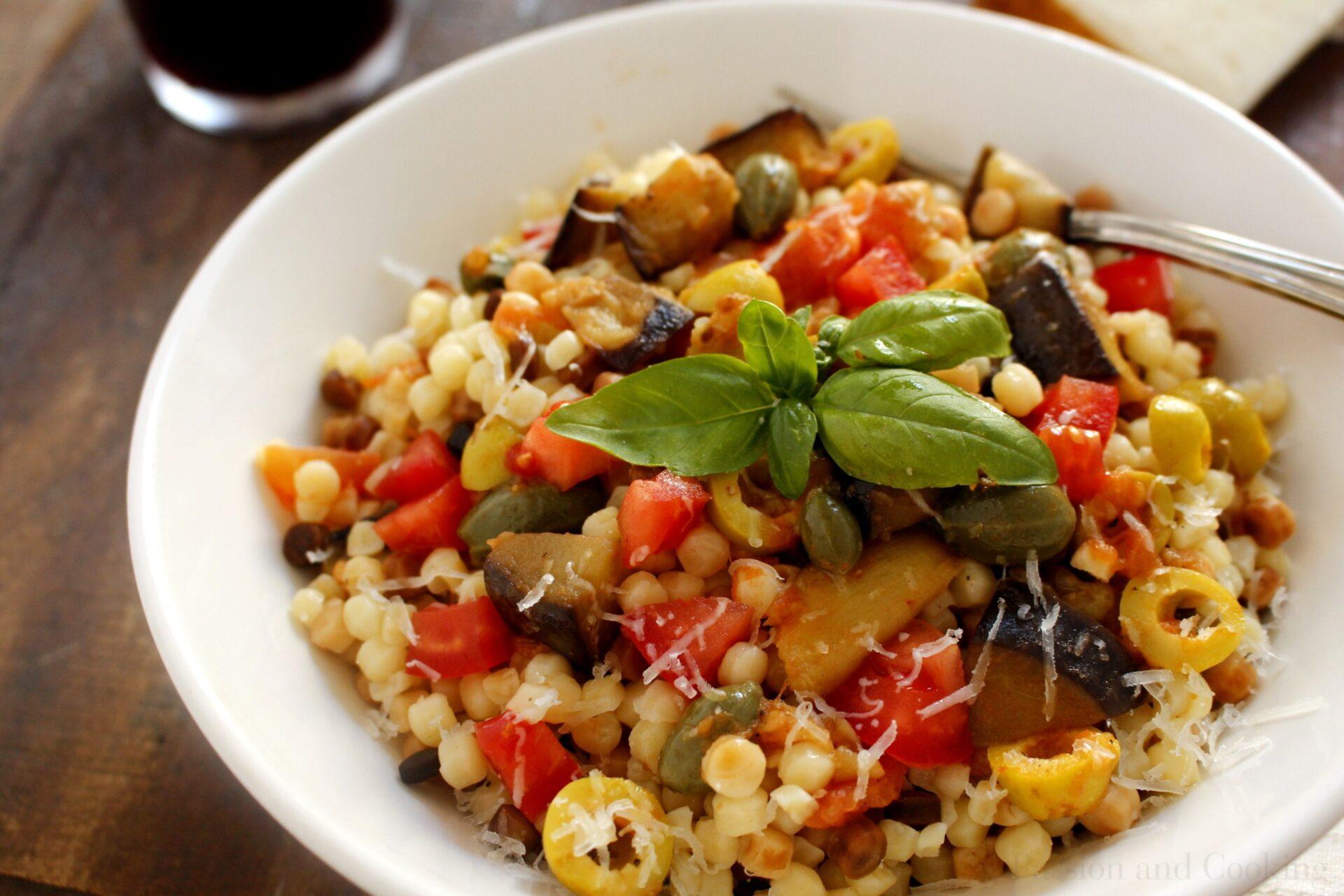 Fregola pasta with eggplant