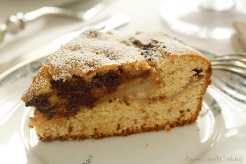 TortaTorta di farro, pere e cioccolato dett.