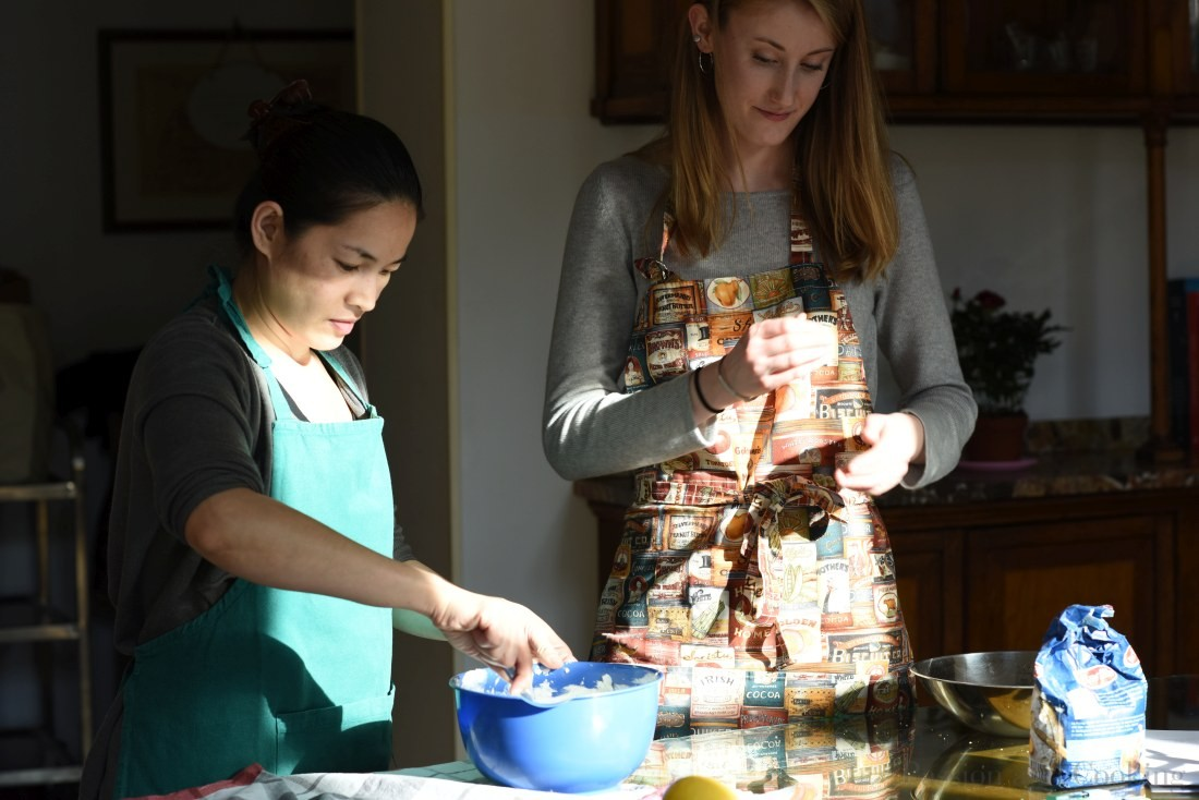 Paola during her cooking class on Como Lake.