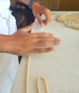 Rolling the pici dough