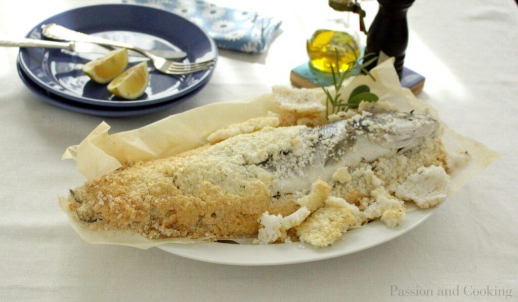 Salt-crusted sea bass