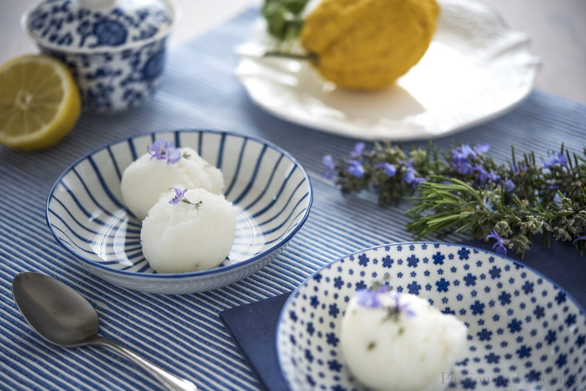 Lemon and rosemary sorbet