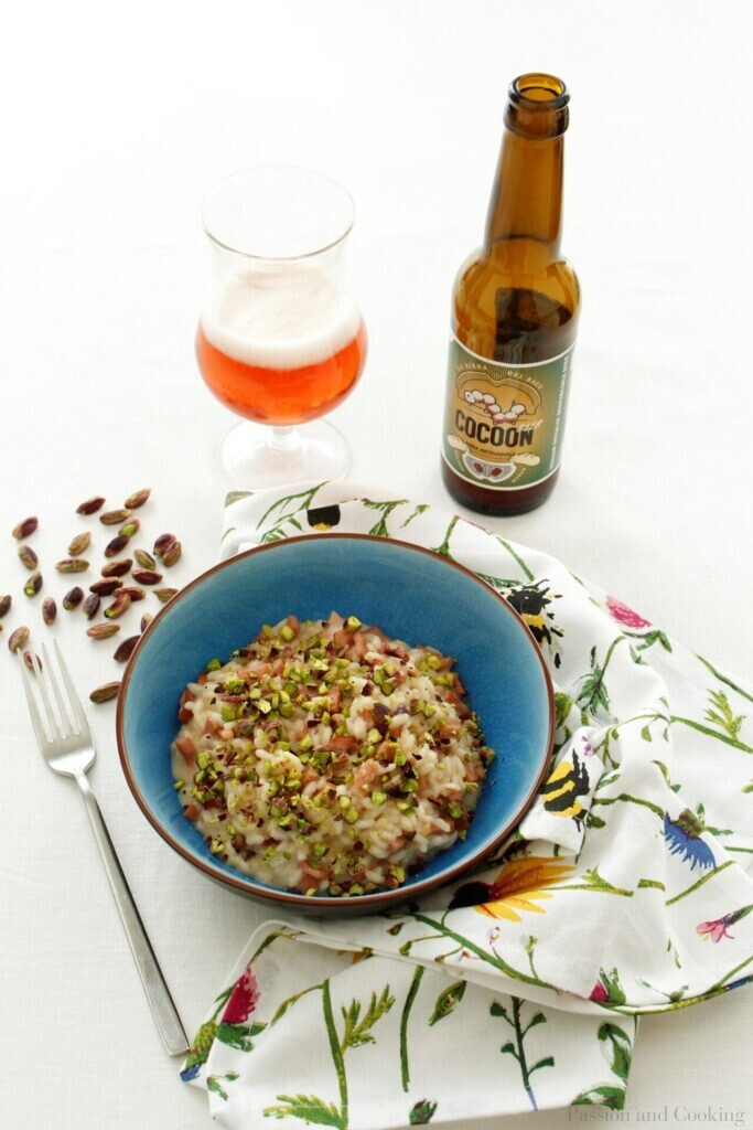 Risotto with beer, Mortadella and Bronte Pistachios